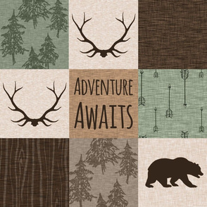 Antlers and bear - adventure Awaits Quilt - green and brown
