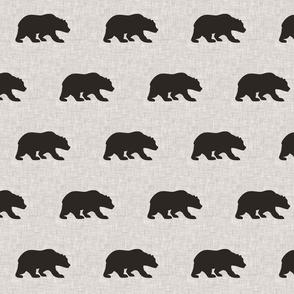 """4"""" Black Bear on beige linen"""