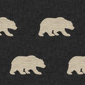 "3"" wood bear on black linen"