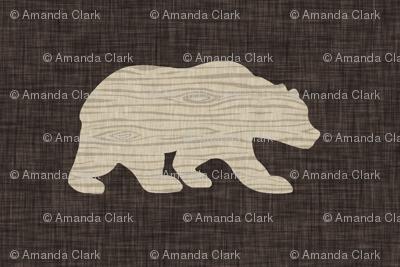 "1.5"" wood bear on dark brown linen"