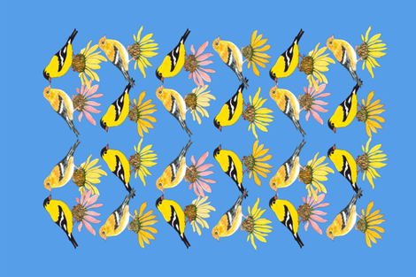 goldfinches-and-coneflowers fabric by florodoro on Spoonflower - custom fabric