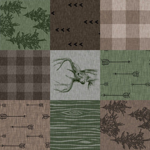 Rustic Buck Quilt - Camo green brown and tan ROTATED