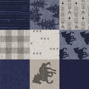 Wild Horse Quilt - Navy/tan/taupe - RO