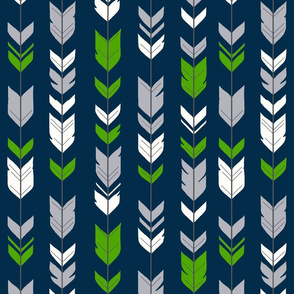 arrow Feathers - Seahawks green and grey on navy