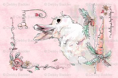 Bunny Love tea towel- pink