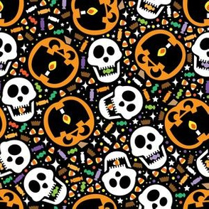 aloha jackolantern and skulls on black
