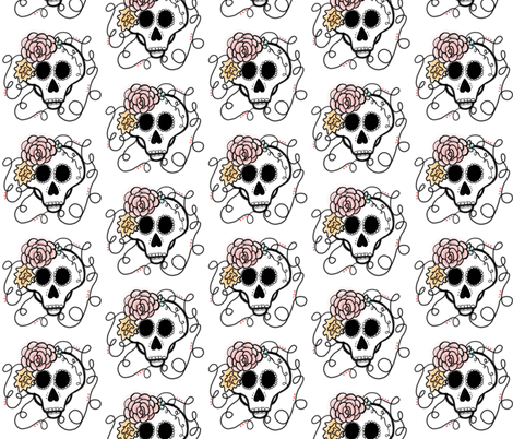 Sugar Skull with Rose designs fabric by theespottedowl on Spoonflower - custom fabric