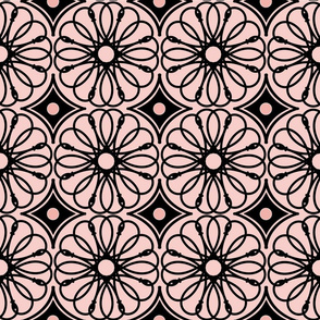 Spinning Daisy: Rose Gold & Black Geometric Flowers