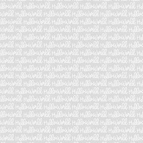 """Linen """"Hello World"""" on LightGray"""