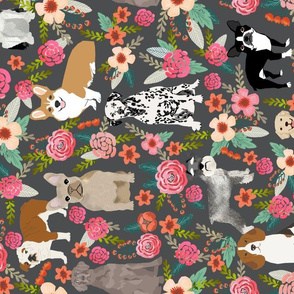 LARGE - dogs and florals fabric pets and flowers quilting fabric - grey