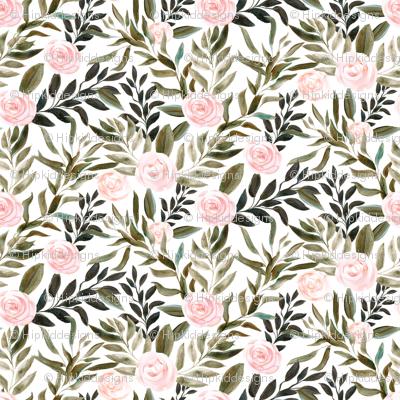 """16"""" Woodland Blush Roses // White"""