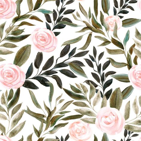 "16"" Woodland Blush Roses // White fabric by hipkiddesigns on Spoonflower - custom fabric"