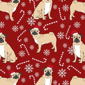 pug christmas fabric - christmas fabric, dog christmas fabric, pug christmas fabric by the yard, christmas fabric by the yard, cute dog, dogs - marroon
