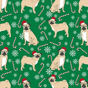 pug christmas fabric - christmas fabric, dog christmas fabric, pug christmas fabric by the yard, christmas fabric by the yard, cute dog, dogs - green