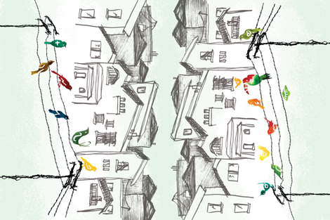 Birds on a Wire tea towel fabric by jamielewisdesigns on Spoonflower - custom fabric