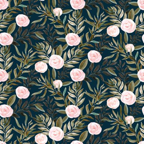 "8"" Woodland Blush Roses // Tiber Navy fabric by hipkiddesigns on Spoonflower - custom fabric"