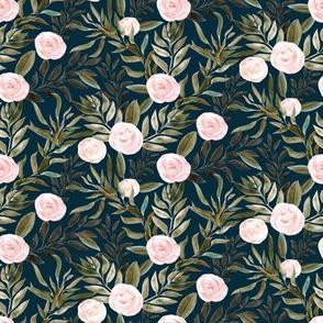 "8"" Woodland Blush Roses // Tiber Navy"