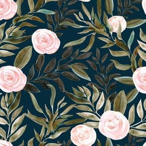 "16"" Woodland Blush Roses // Tiber Navy"