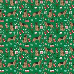 small  - German Shepherd fabric - german shepherd christmas, christmas fabric, dog fabric, fabric by the yard, dogs, dog design, cute dog, christmas