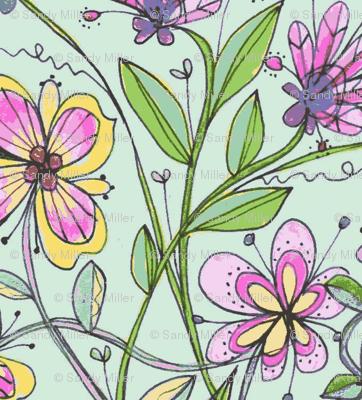 wildflower quilt-mint