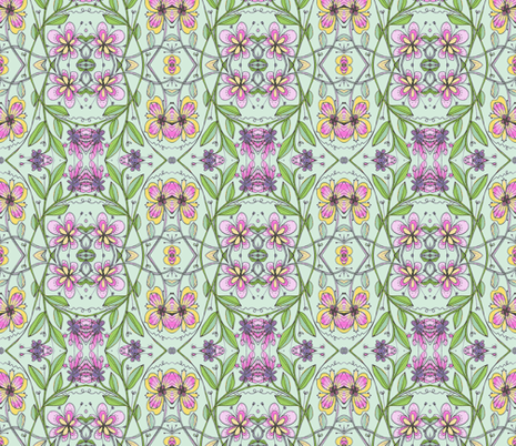 wildflower quilt-mint fabric by unclemamma on Spoonflower - custom fabric