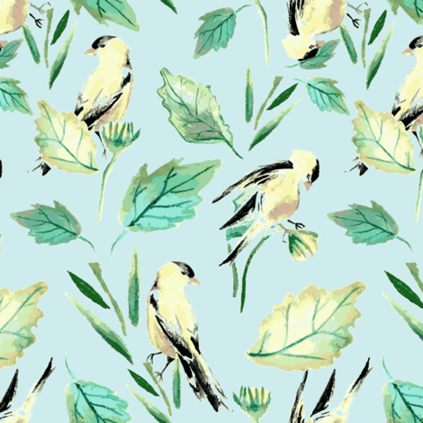 Goldfinches on blue fabric by katie_hayes on Spoonflower - custom fabric