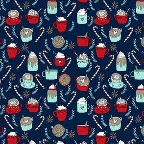 SMALL - hot cocoa // hot chocolate coffee peppermint latte christmas winter holiday drinks coffees cute cafe holiday fabrics
