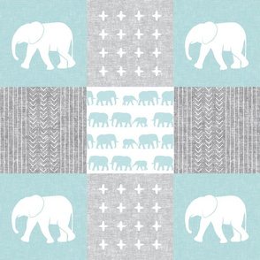 Elephant wholecloth - cross my heart - blue