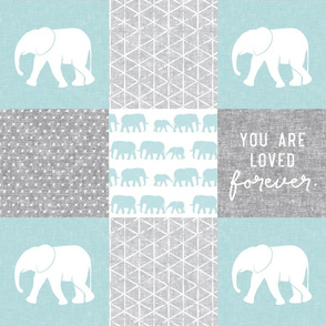 Elephant wholecloth - You are loved forever.  - blue
