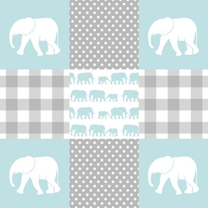elephant wholecloth - plaid and polka dots - blue
