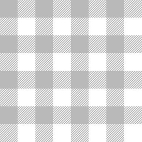 grey and white plaid - buffalo check - gray