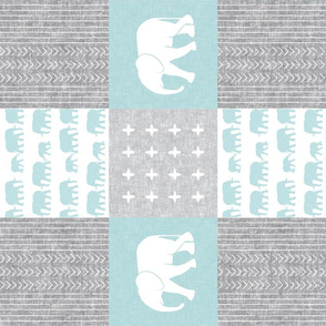 Elephant wholecloth - cross my heart - blue (90)