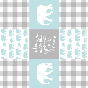 Elephant wholecloth - I love you more than you will ever know - patchwork - plaid - blue  (90)