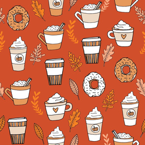 LARGE - pumpkin spice latte fabric coffee and donuts fall autumn traditions rust