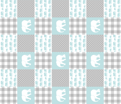 elephant wholecloth - plaid and polka dots - blue (90) fabric by littlearrowdesign on Spoonflower - custom fabric