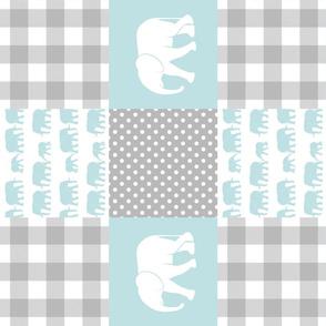 elephant wholecloth - plaid and polka dots - blue (90)