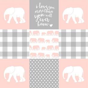Elephant wholecloth - I love you more than you will ever know - patchwork - plaid - pink