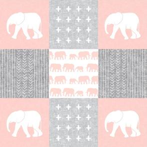 Elephant wholecloth - cross my heart - pink