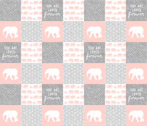 Elephant wholecloth - You are loved forever.  - pink  fabric by littlearrowdesign on Spoonflower - custom fabric