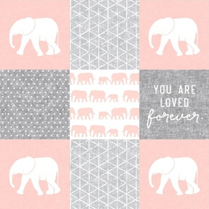 Elephant wholecloth - You are loved forever.  - pink