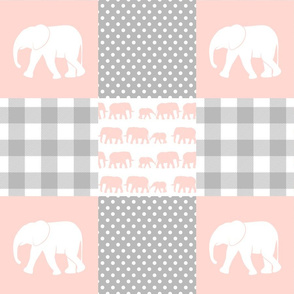 elephant wholecloth - plaid and polka dots - pink