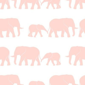 elephants march - pink on white
