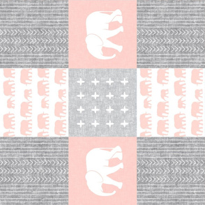 Elephant wholecloth - cross my heart - pink (90)