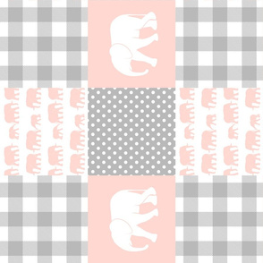 elephant wholecloth - plaid and polka dots - pink (90)