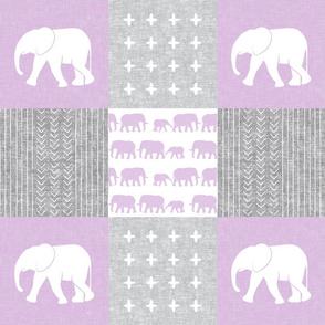 Elephant wholecloth - cross my heart - purple