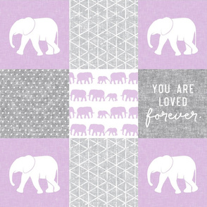 Elephant wholecloth - You are loved forever.  - purple