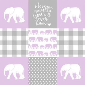 Elephant wholecloth - I love you more than you will ever know - patchwork - plaid - purple
