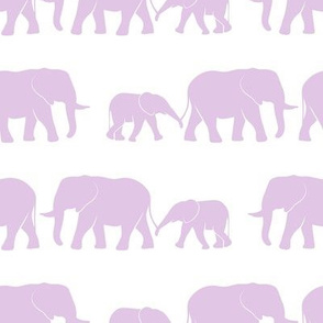 elephant march - purple on white