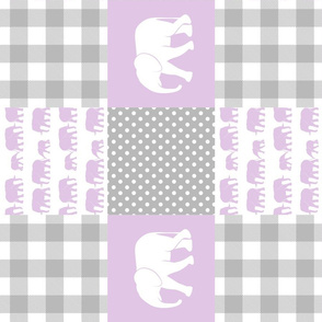 elephant wholecloth - plaid and polka dots - purple (90)