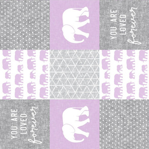 Elephant wholecloth - You are loved forever.  - purple (90)